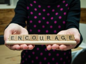 word, encourage, scrabble tiles